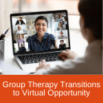 Person watching a virtual group therapy session on a laptop.