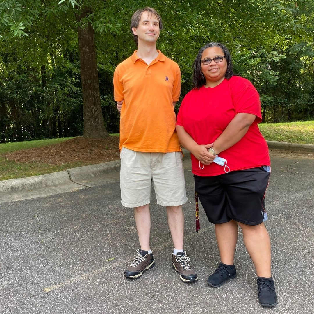 DSP Joanna Watson, right, with person supported Justin.