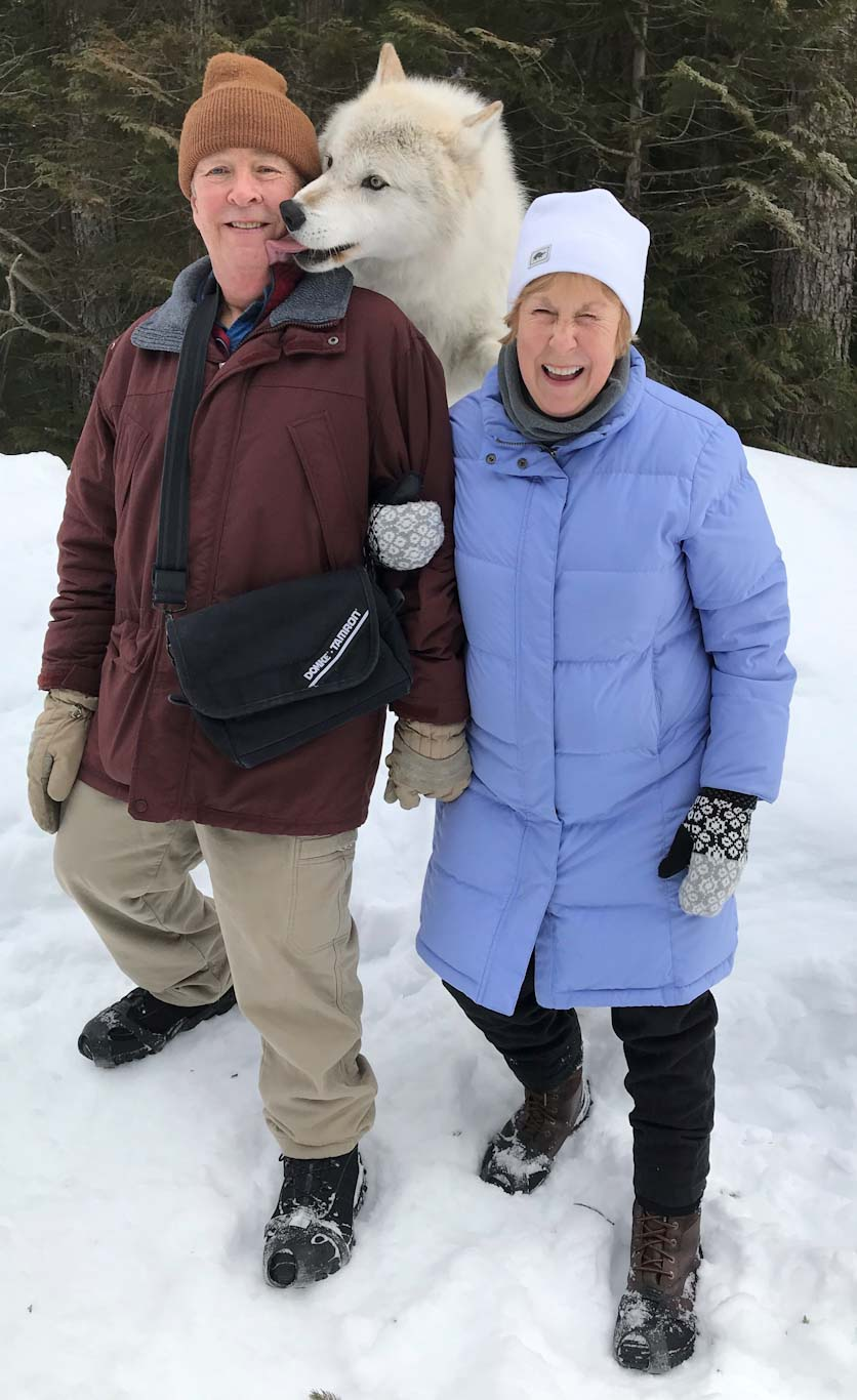 Duncan Munn, at left, poses in the snow with his wife, Marsha.