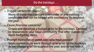 emotional stresses during the holidays