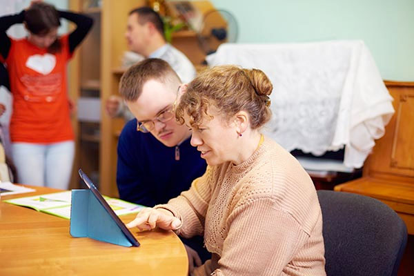 Individuals with intellectual disabilities interacting