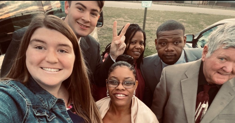 "Direct Support Professional Meredith Burris captures a ""selfie"" with people supported at Monarch's Montgomery Community Living Skills day program."