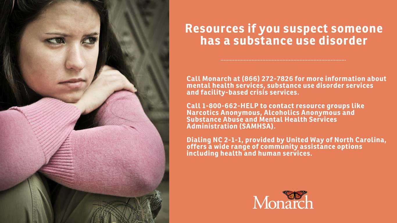 On the left side, a young woman in distress and on the right side resources to call if you suspect someone has a substance use disorder.