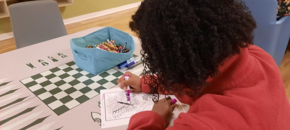Child receiving occupational therapy services at the Monarch SECU Youth Crisis Center in Charlotte, North Carolina.