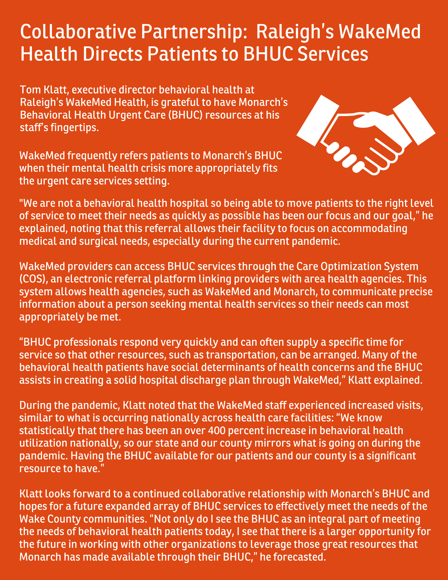 Infographic - Raleigh's WakeMed Health collaborative partnership