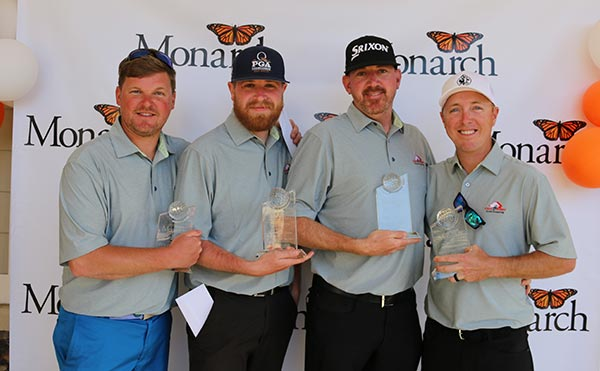 Winning team at golf tournament